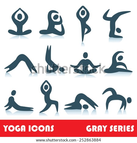 Yoga poses logo abstract people vector icons, part 1, gray series