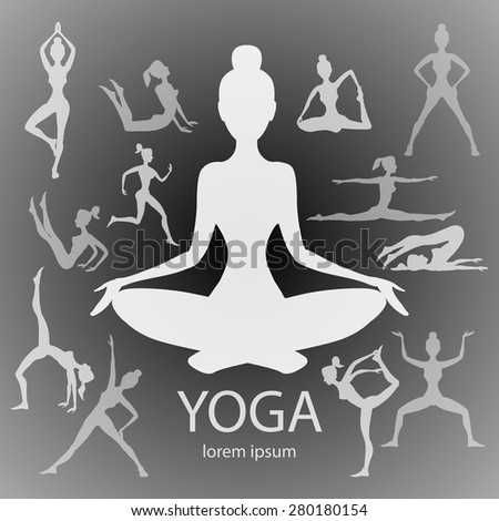 yoga poses silhouettes  vector body pose female art black - stock vector