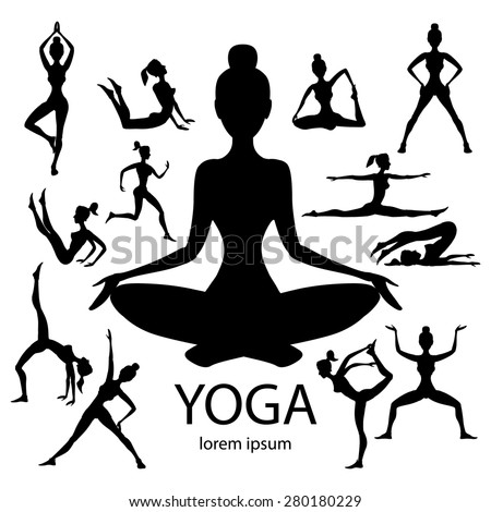Yoga Poses Silhouettes Vector Body Pose Female Art Black