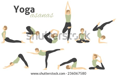Yoga poses. Vector illustration - stock vector