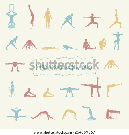 Yoga poses with props in vector