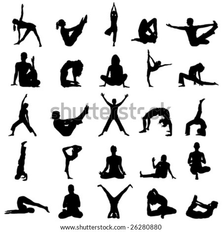 yoga positions - stock vector