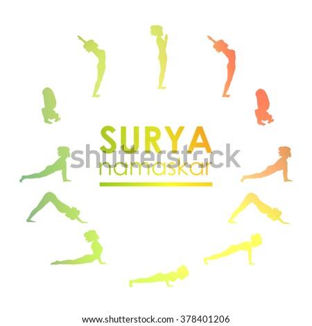 Yoga Postures Practice Surya Namaskar Logo For The Studio Image Can Be