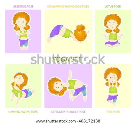 Yoga set. Cute curly red haired yogi girl performs six asanas, positions of yoga. - stock vector