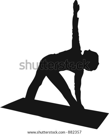 Yoga Silhouette (note to designers: negative spaces between legs and leg and arm is punched out, so background will show through if desired) - stock vector