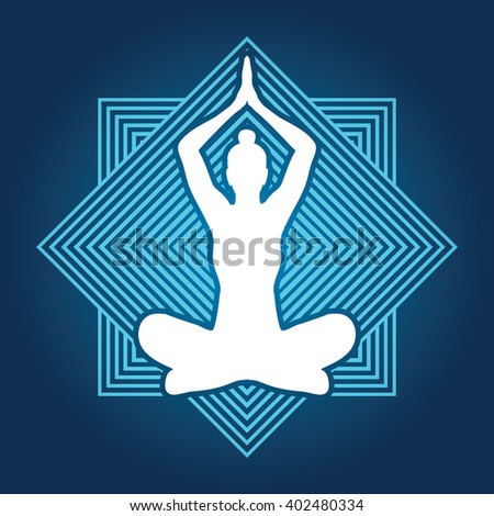 Yoga Sitting pose designed on line square background graphic vector. - stock vector