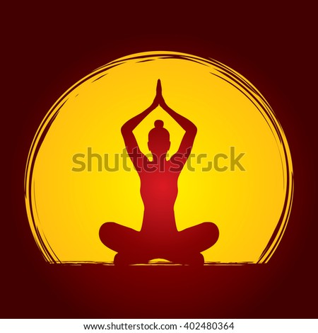 Yoga Sitting pose designed on moonlight background graphic vector. - stock vector
