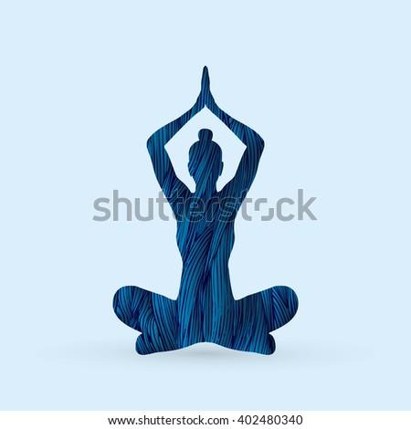 Yoga Sitting pose designed using blue grunge brush graphic vector. - stock vector