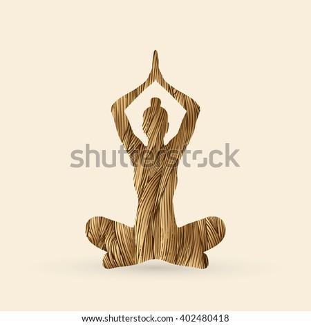 Yoga Sitting pose designed using golden grunge brush graphic vector. - stock vector