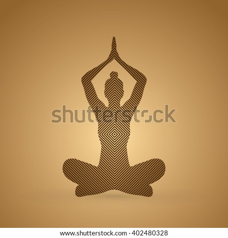 Yoga Sitting pose designed using line square graphic vector. - stock vector