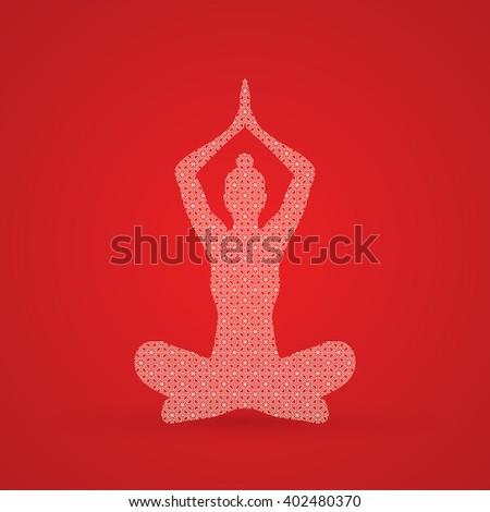 Yoga Sitting pose designed using luxury geometric pattern graphic vector. - stock vector