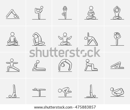 Yoga sketch icon set for web, mobile and infographics. Hand drawn yoga icon set. Yoga vector icon set. Yoga icon set isolated on white background.