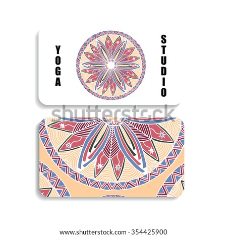 yoga Studio card with the image of a color mandala hand drawn in the style of zentangle and Doodle