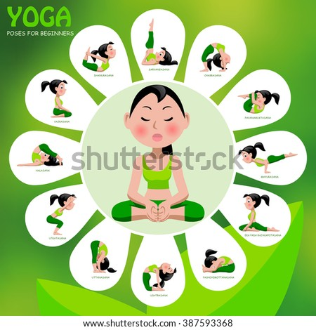 Yoga template with poses and titles on green background. Yoga Poses Infographic Elements with captions. Vector illustration. - stock vector