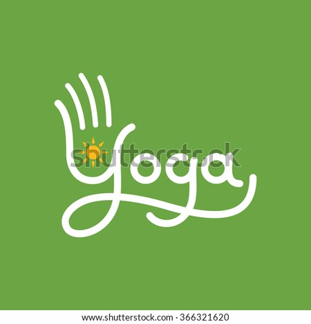Yoga vector icon with stylized hand and sun.