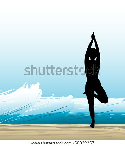 yoga with a strong wave background