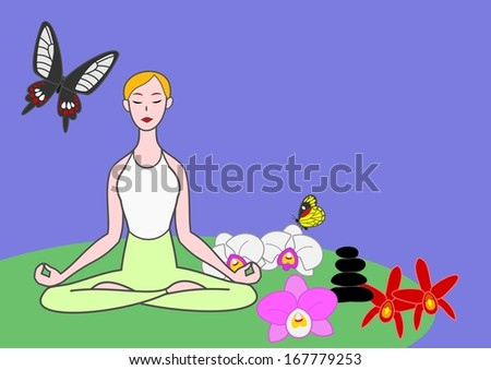 yoga woman meditating with butterflies and orchids