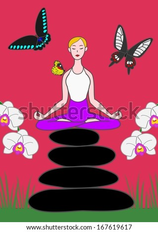 yoga woman sitting on zen stones with butterflies and orchids.