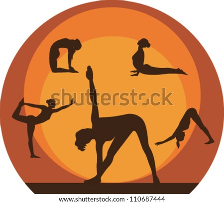 Yoga women silhouette icons. Vector