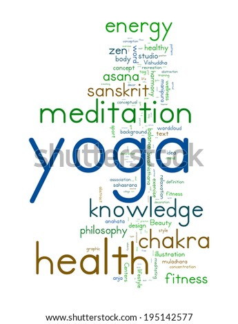 YOGA. Word collage on white background.