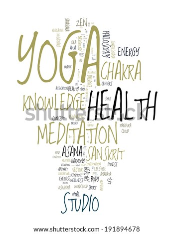 YOGA. Word collage on white background. Vector illustration. - stock vector