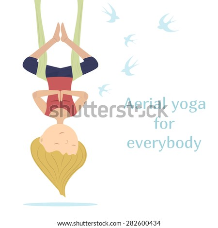 Yogi girl hanging in a hammock on a background of flying swallows.White background. Blonde girl - stock vector