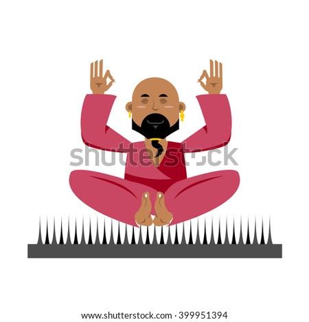 Yogi on nails. Indian yogi sits on spike. nirvana Meditation. Man practicing yoga exercises. Bald man with beard meditates  - stock vector