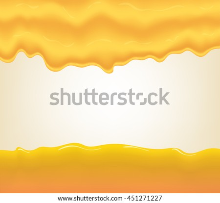 yogurt, cream or juice splashing. Orange smudges splashes drops on blue background. Vector illustration