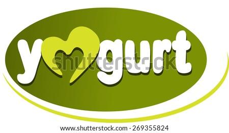 yogurt - text tag - stock vector