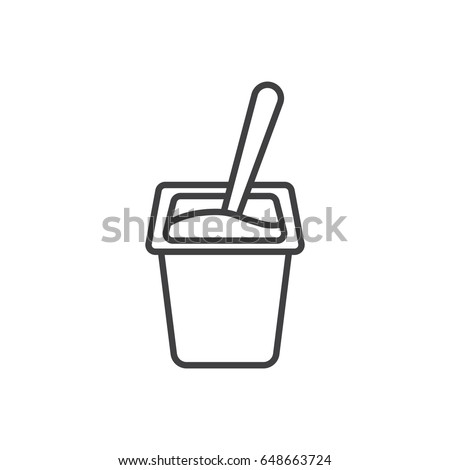Yogurt with spoon inside line icon.
