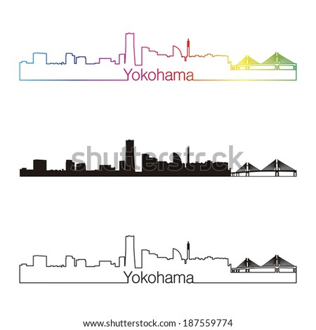 Yokohama skyline linear style with rainbow in editable vector file