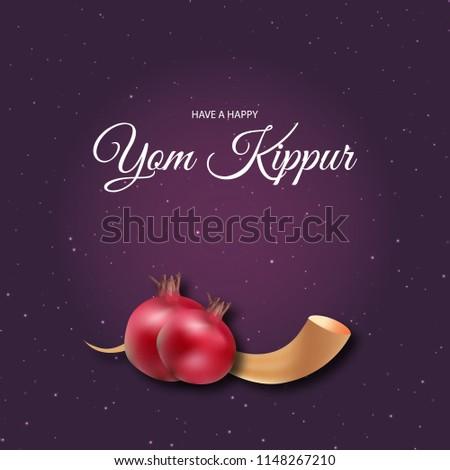 Yom kippur greeting card template design stock vector royalty free yom kippur greeting card and template design illustration with pomegranate and shofar vector poster illustration m4hsunfo