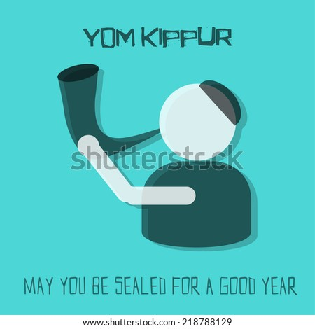 Yom kippur greeting card man blowing stock vector 218788129 yom kippur greeting card man blowing horn on blue background vector illustration m4hsunfo