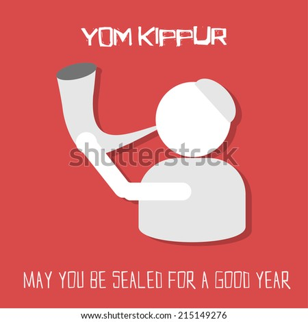 Yom kippur greeting card man blowing stock vector 215149276 yom kippur greeting card man blowing horn on red background vector illustration m4hsunfo