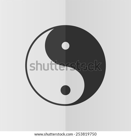 Yon yang symbol vector icon. Effect of folded paper. Flat design - stock vector