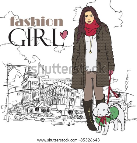Yong girl with cute dog in sketch-style on a city-background. Vector illustration. - stock vector