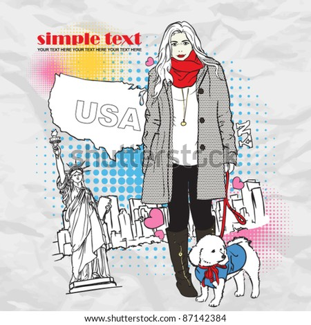 Yong girl with cute dog in sketch-style on a usa-background. Vector illustration. - stock vector