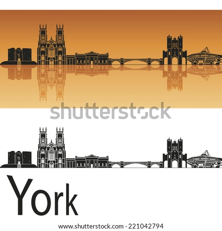 York skyline in orange background in editable vector file - stock vector