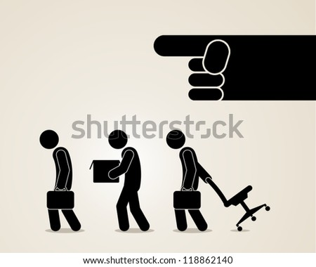 you are fired jobless unemployment dismissed vector illustration - stock vector
