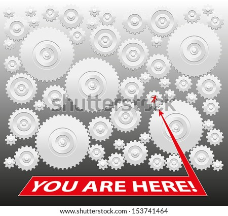 You are here! - Gearbox, which demonstrates both that you are a prisoner - bound to the system - or on the other hand that you are part of a team working together. Isolated vector on grey background. - stock vector