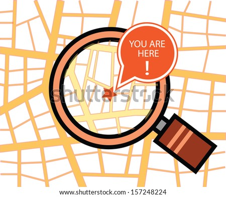 You are here map with magnifying glass - stock vector