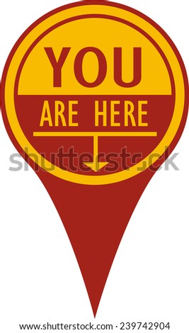 You Are Here Pin, Concave - stock vector