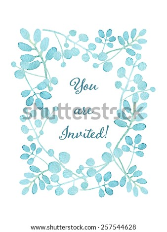 You are invited card. Floral wreath watercolor hand drawn. Spring or summer design for invitation, wedding or greeting cards. Eps10 - stock vector