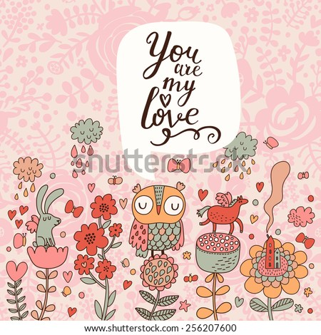 You are my love concept set in vector. Sweet owl, with lovely rabbit and horse on cartoon flowers under summer rain in bright colors