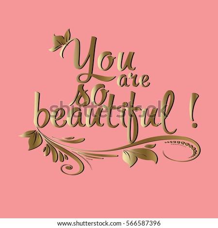 you beautiful vintage gold 3 d calligraphic vector de