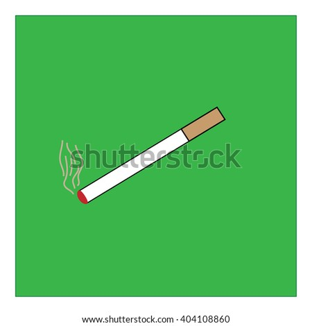 You can smoke sign in green square. Isolated on white background. Smoking area symbol marks. You can smoke sign picture. Green sticker vector illustration. Flat vector image. Vector illustration. - stock vector