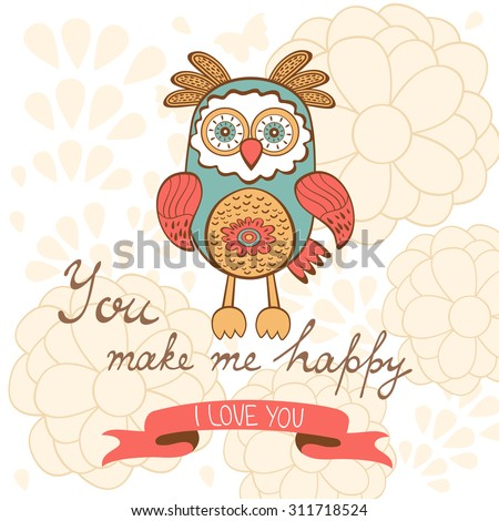 You make me happy romantic card with birds and flowers. vector illustration - stock vector