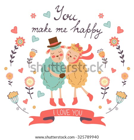 You make me happy romantic card with cute sheeps couple. vector illustration - stock vector