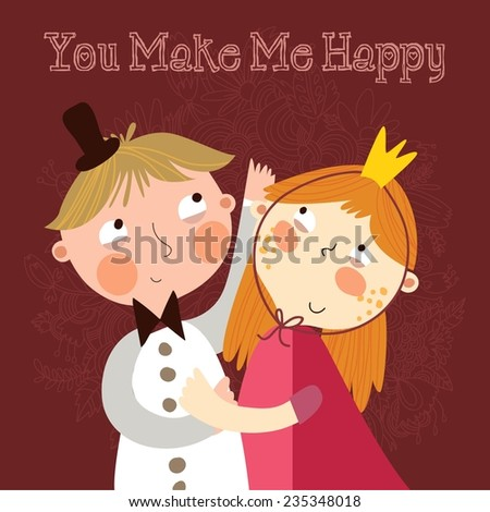 You make me happy. Romantic concept background with cute boy and girl in bright colors.  - stock vector