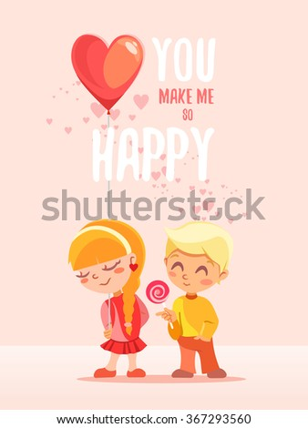 You make me happy.Romantic concept with two lovely little kids,boy and girl. Valentine's day greeting card or poster. Vector illustration on pink background - stock vector